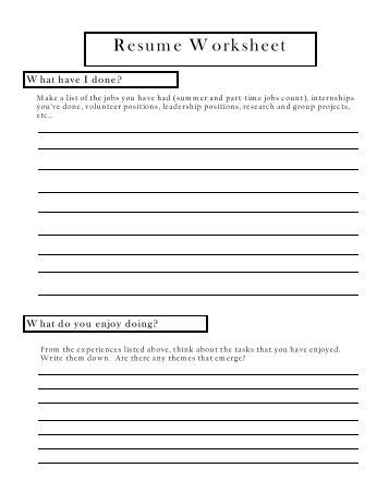 Worksheet Resume Worksheet resume worksheet for brainstorming and information collection worksheet