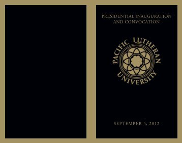Convocation Program - Pacific Lutheran University