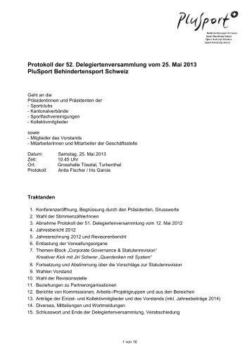 Protokoll der Delegiertenversammlung vom 25. Mai 2013