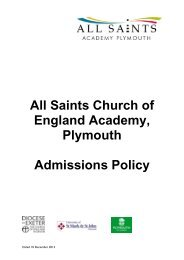 All Saints CE Academy Plymouth oversubscription criteria 2014 to ...