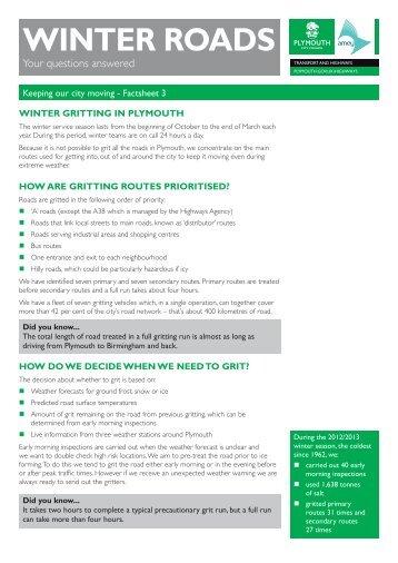 Winter fact sheet - Plymouth City Council