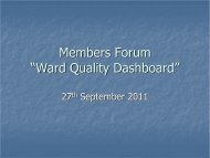 """Members Forum """"Ward Quality Dashboard"""" - Plymouth Hospitals"""