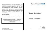 Breast Reduction - Plymouth Hospitals