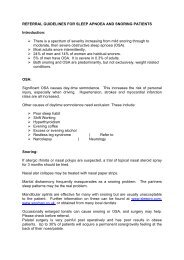referral guidelines for sleep apnoea and snoring patients - Plymouth ...