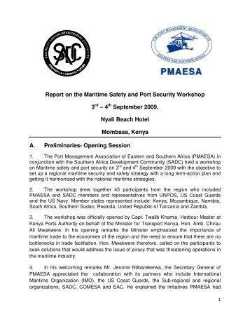 Report on the Maritime Safety and Port Security ... - PMAESA