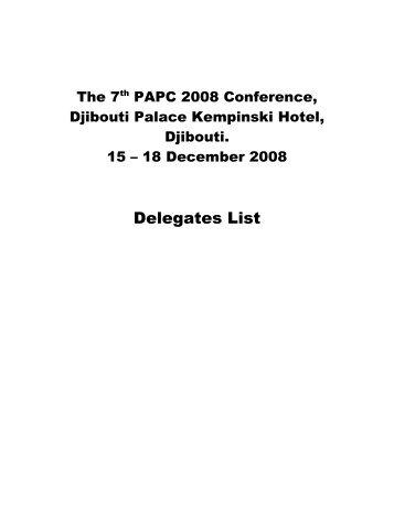 Congestion workshop delegates list - PMAESA