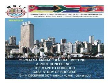 The Maputo Corridor Case Study of Succcess - PMAESA