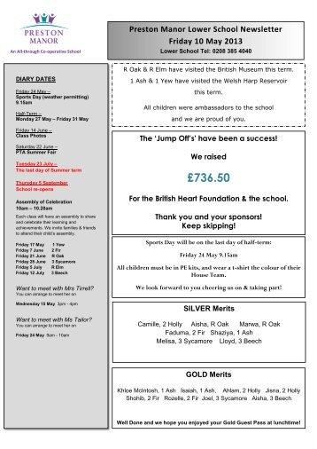 Summer Term Newsletter - 10 May 2013 - Preston Manor High School