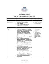 PERSON SPECIFICATION POST TITLE: Head of Maths ... - Eteach