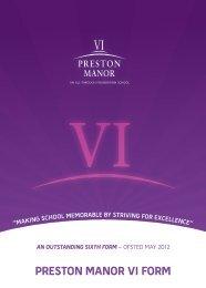 Preston Manor Sixth Form Prospectus - Preston Manor High School