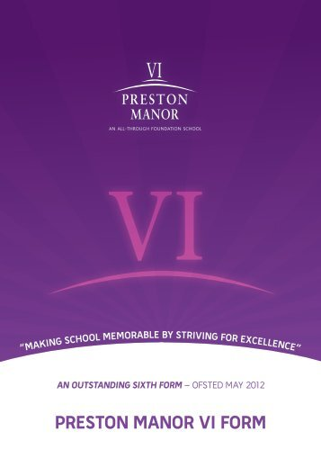 Preston Manor Sixth Form Prospectus - Preston Manor High School