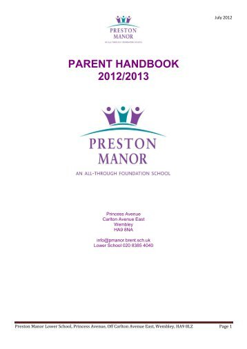 PARENT HANDBOOK 2012/2013 - Preston Manor High School