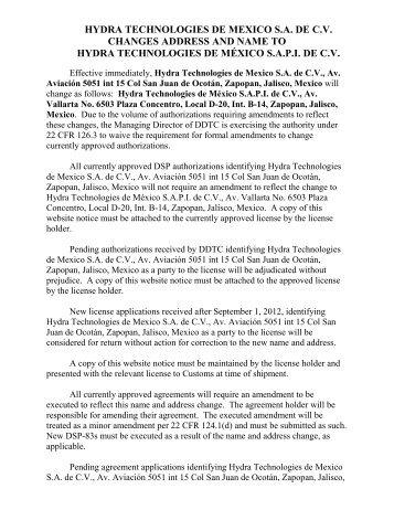 Hydra Technologies De Mexico Sa Cv Changes Address And Name