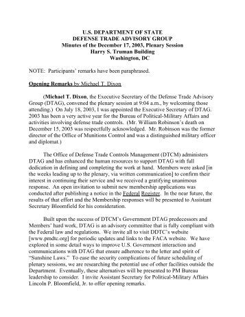 Minutes - Directorate of Defense Trade Controls - US Department of ...