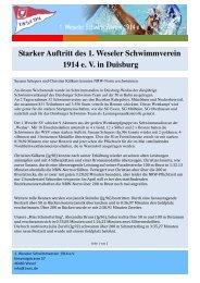 Starker Auftritt des 1. Weseler Schwimmverein 1914 e. V. in Duisburg