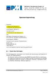 Sponsoringvertrag - PMI Berlin/Brandenburg Chapter eV