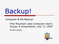 Back-up! Who needs it? - PML Computer Users Group