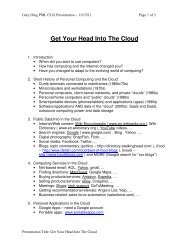 Get Your Head Into The Cloud - PML Computer Users Group