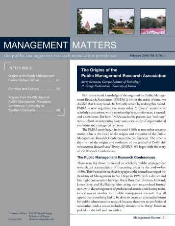 Volume 4, Number 1, (2006) - Public Management Research ...