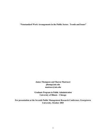 Nonstandard Work Arrangements in the Public Sector
