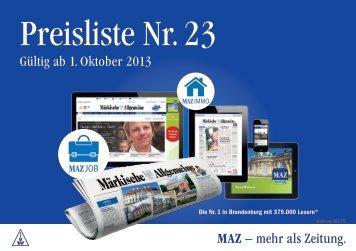 Anzeigen-Preisliste Nr. 22 - Märkische Allgemeine