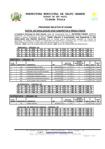 Edital gabaritos e resultados - Prefeitura Municipal de Salto Grande