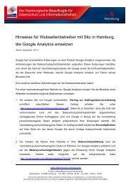 Hinweise für Webseitenbetreiber mit Sitz in Hamburg, die Google ...
