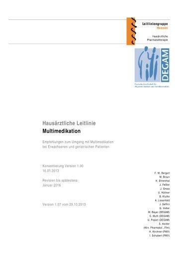 Hausärztliche Leitlinie Multimedikation - PMV forschungsgruppe