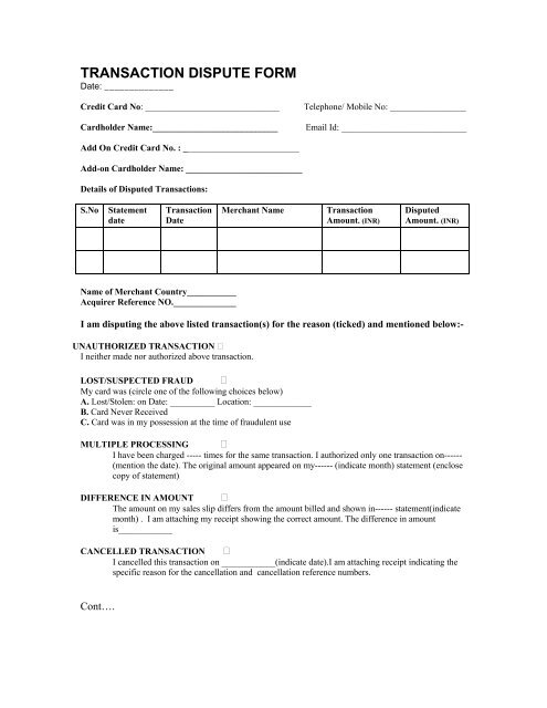 Transaction Dispute Form Pnb Global Credit Cards