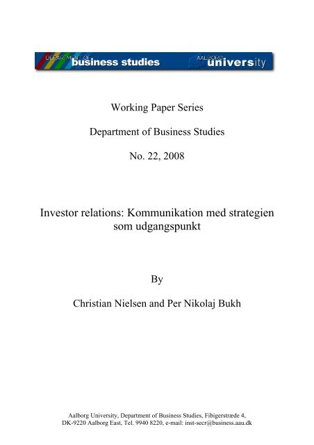 Investor relations: Kommunikation med strategien som udgangspunkt