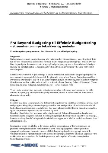 Fra Beyond Budgeting til Effektiv Budgettering - Per Nikolaj Bukh ...