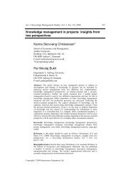 Knowledge management in projects: insights from two perspectives ...