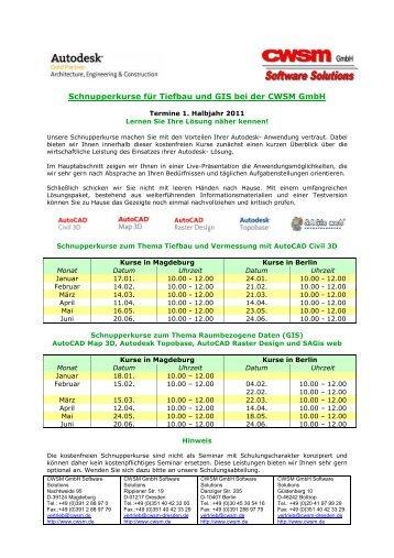 Schnupperkurse für Tiefbau und GIS bei der CWSM Gmbh