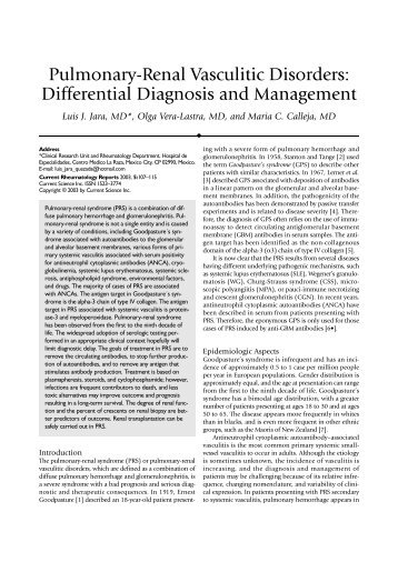 Pulmonary-Renal Vasculitic Disorders: Differential Diagnosis and ...