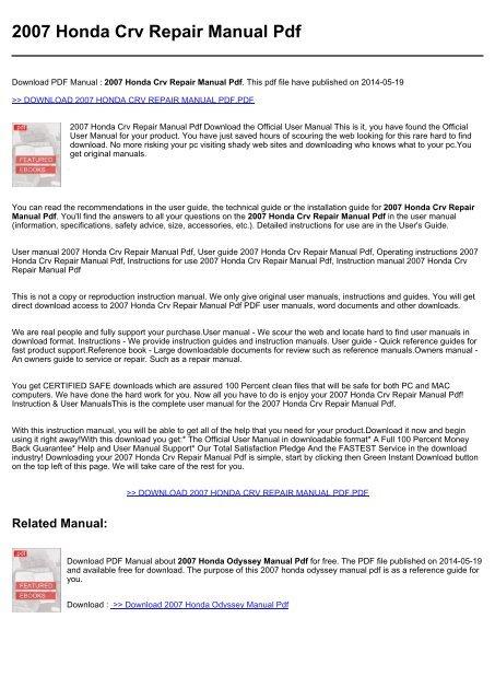 Honda Owners Manual >> 2007 Honda Crv Repair Manual Pdf
