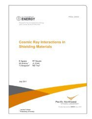 Cosmic Ray Interactions in Shielding Materials - Pacific Northwest ...