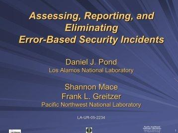Enhanced Security Through Human Error Reduction OSI Workshop
