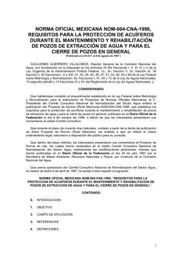 norma oficial mexicana nom-004-cna-1996, requisitos para la ...