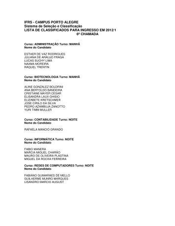 Lista de 6ª chamada para ingresso nos Cursos Técnicos