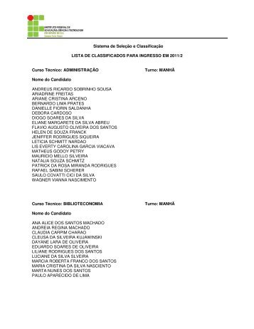 Lista de aprovados para ingresso em 2011/2