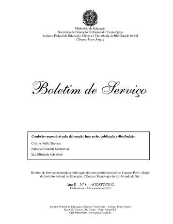 Ano II – Nº 8 – AGOSTO/2012 - IFRS Câmpus Porto Alegre