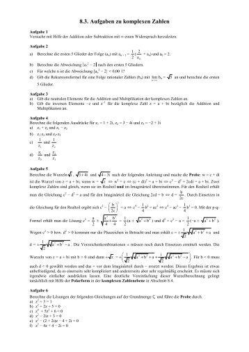 Aufgaben zu komplexen Zahlen - Poenitz-Net