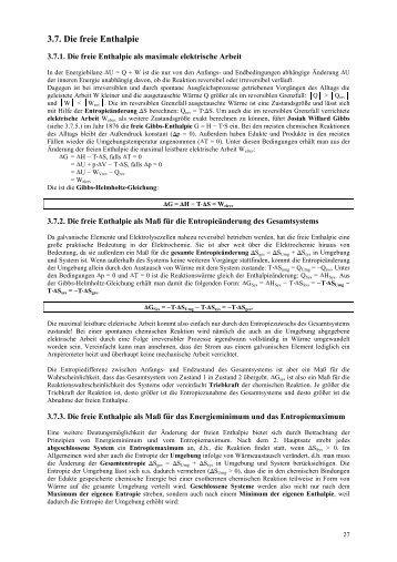 Standardwerte der Enthalpie, Entropie, freien Enthalpie und ...