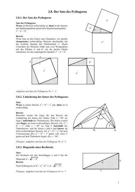 übungen satz des pythagoras