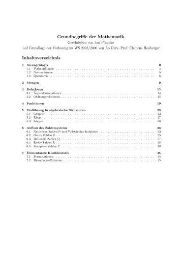 Grundbegriffe der Mathematik Inhaltsverzeichnis