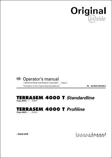 PERATOR@S TERRASEM 4000 T Standardline TERRASEM 4000 ...
