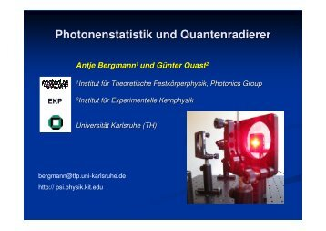Photonenstatistik und Quantenradierer (inkl. Experiment) - pohlig