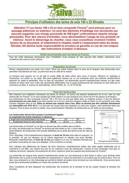 Principes Dutilisation Des Lames De Sols 140 X 23 Silvadec