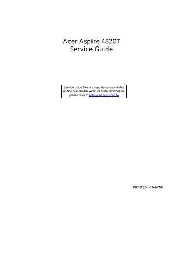 Acer Aspire 4820T_SG - Acer Support