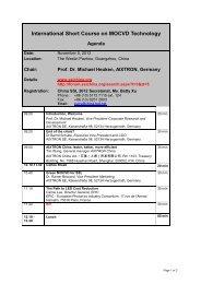 International Short Course on MOCVD Technology - Aixtron